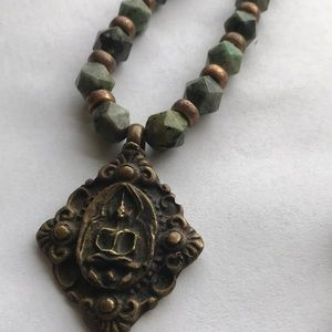 Turquoise and brass beads Buddha pendant necklace.